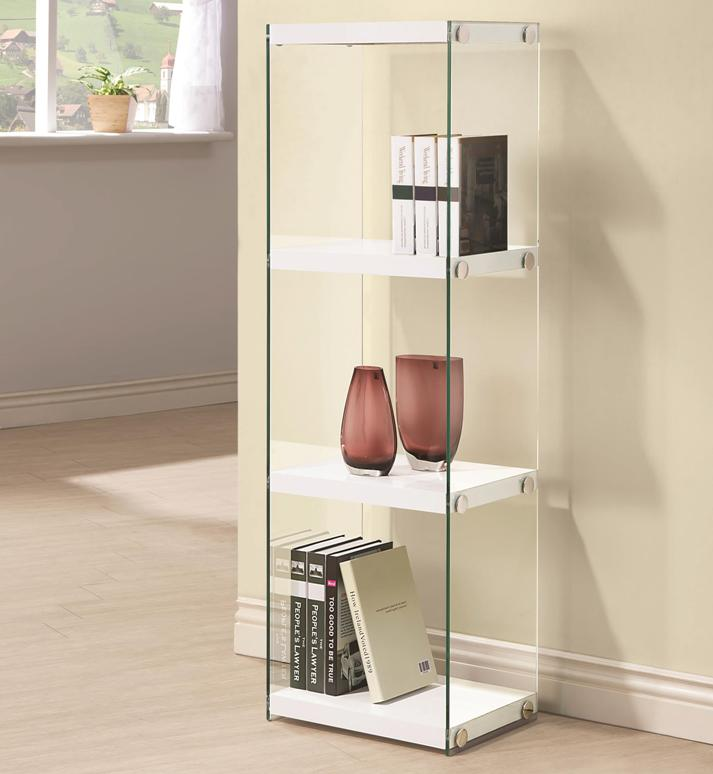 counter height chairs set of 2 white outside contemporary three shelf bookcase with glass shelves and side panels – all nations furniture