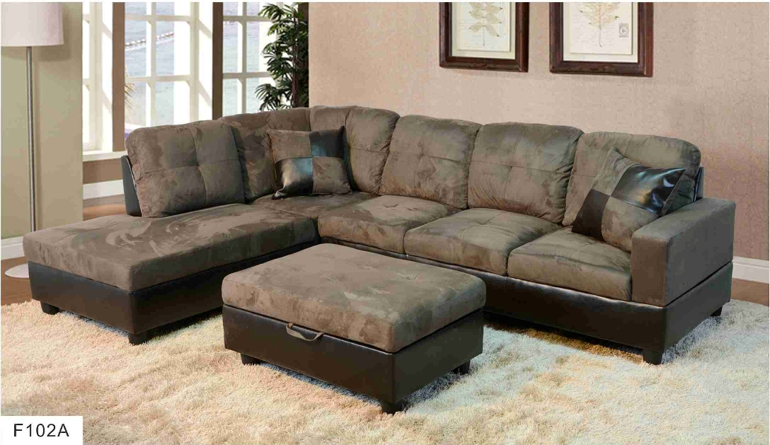F102A  Gray Microfiber  Faux Leather Sectional with