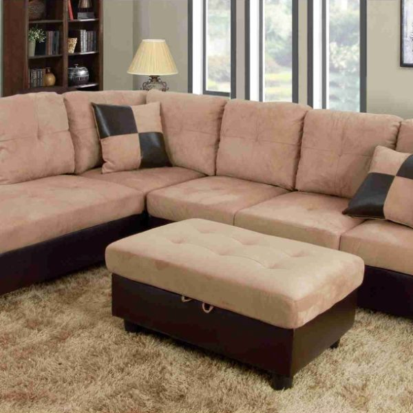 beige microfiber sectional sofa with storage chaise fundas para sofas cama tipo libro f103a – beige/brown & faux leather ...