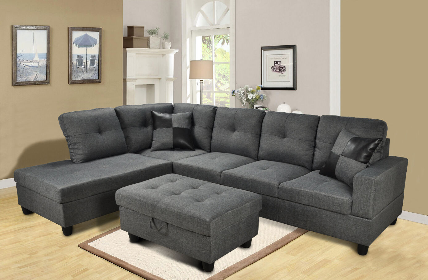 F108 Gray Microfiber Sectional With Storage Ottoman