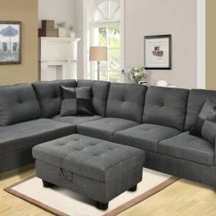 Transitional Style Sectional Sofas Best Convertible F108 – Gray Microfiber With Storage Ottoman ...