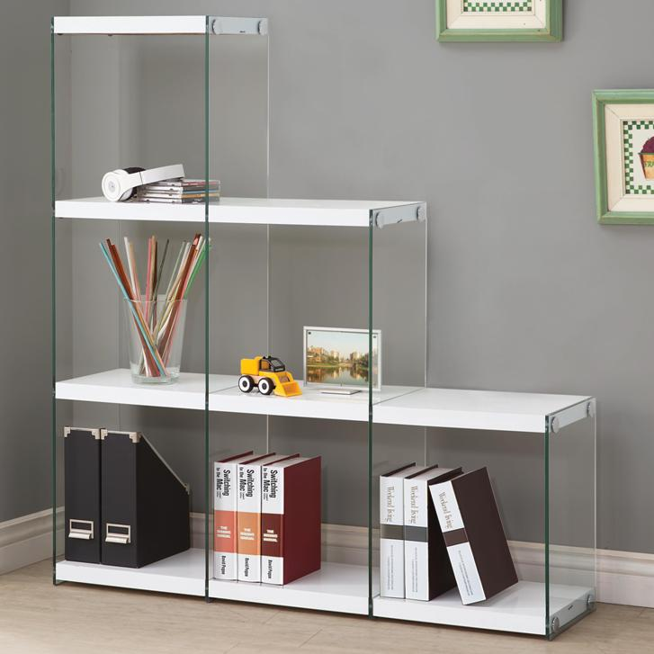 Glossy WhiteBlack Bookcase With Glass Sides All Nations