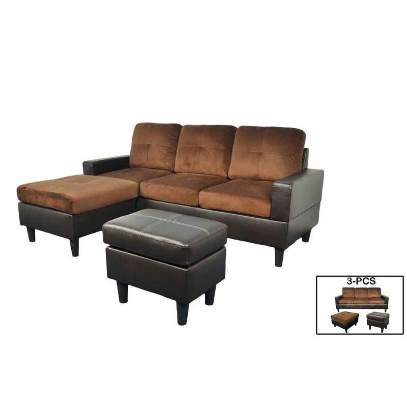 f071 t brown microfiber and faux leather sectional with ottoman