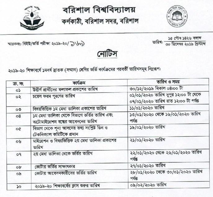 BU Subject Choice Form Online 2019-20 : Barishal University Admission Test Merit List