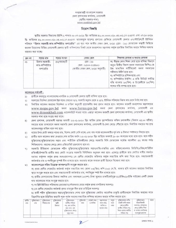 Noakhali DC Office Job Circular 2020