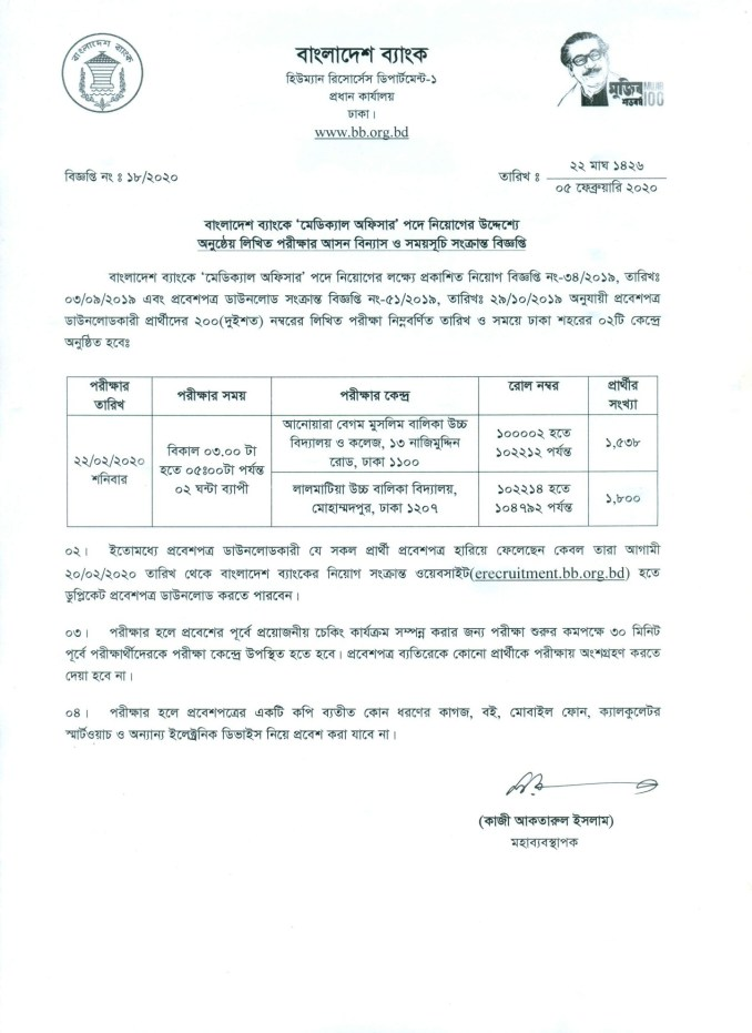 Bangladesh Bank Medical Officer Written Exam Seat Plan 2020
