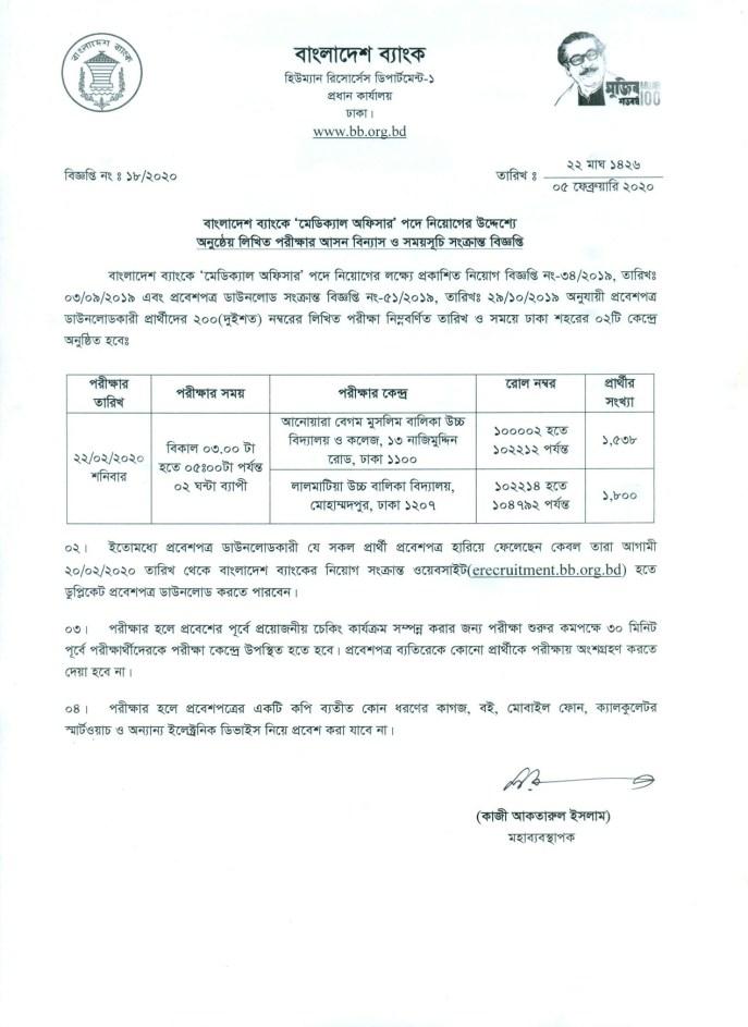 Bangladesh Bank Medical Officer Written Exam Seat Plan 2020