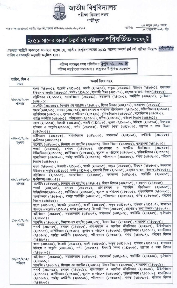 NU Honours 4th Year (Changed) Routine 2020 National University (1)
