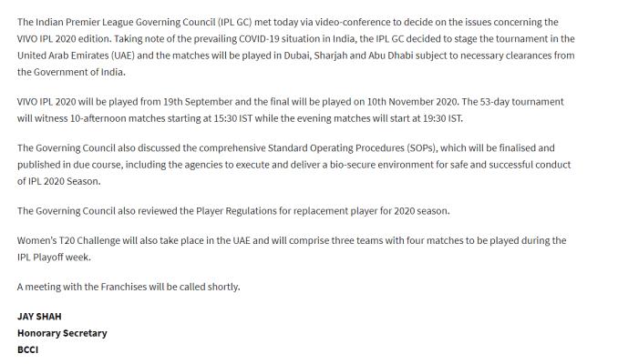 vivo IPL new schedule 2020