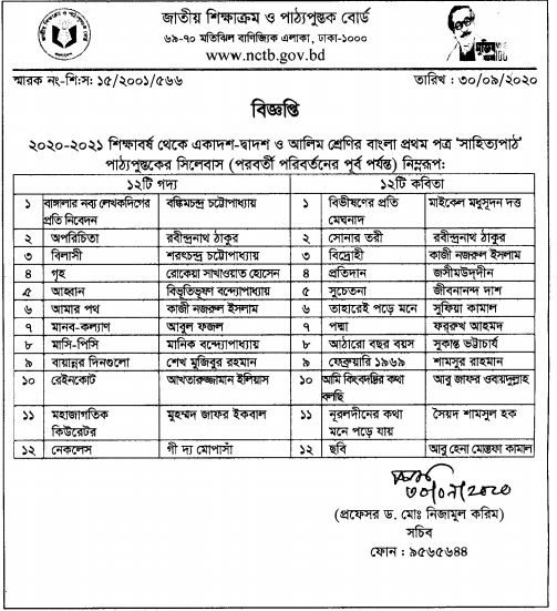 HSC Bangla Syllabus