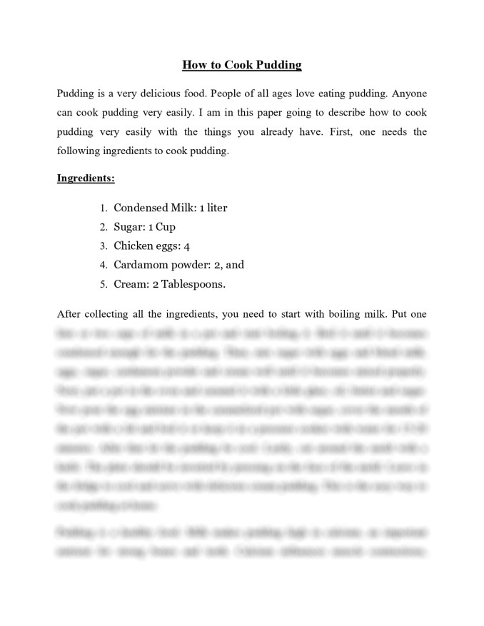 pudding assignment