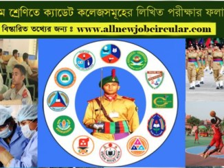 cadet college admission written result 2021