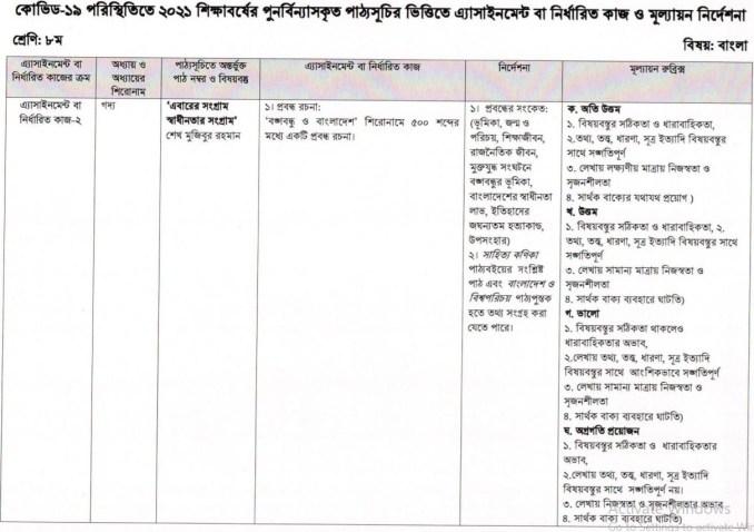 class 8 bangla 5th week assignment answer 2021