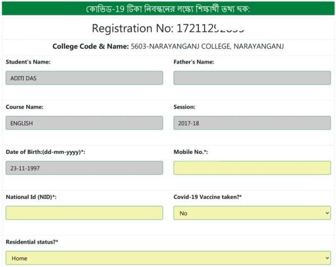 nu covid registration application form