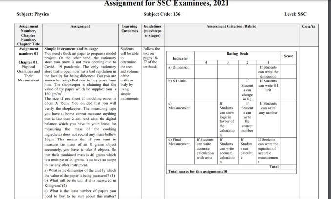 SSC Assignment 2021 English Version physics