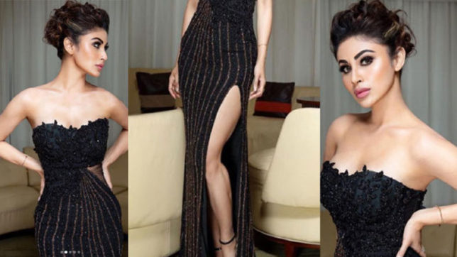 mouni roy black dress