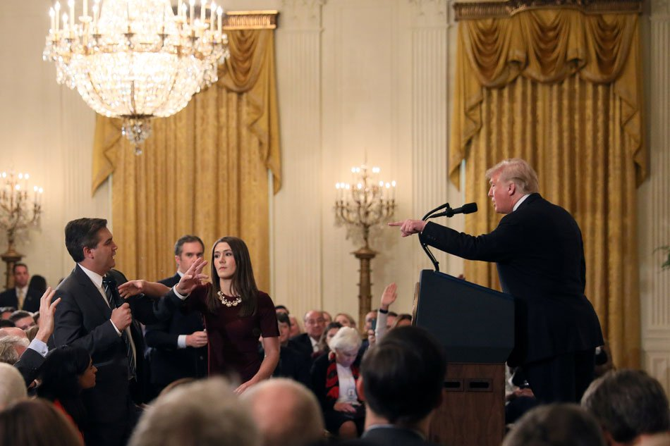 White House suspends credentials of CNN reporter after heated exchange with Trump
