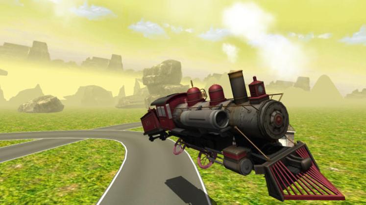 flying train simulator countryside