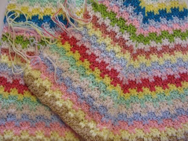 couverture a rayures au crochet pour