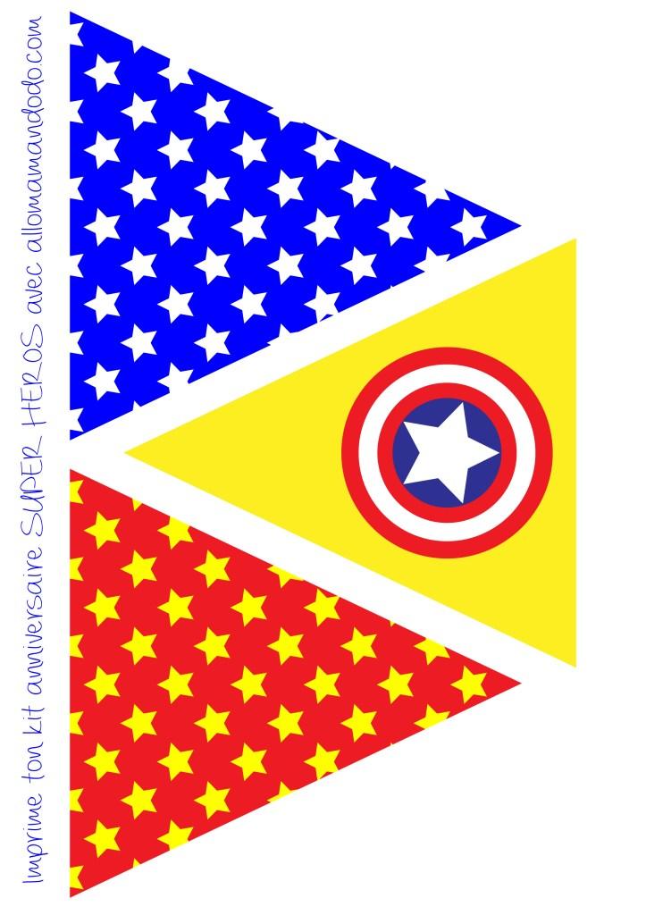 décoration anniversaire super héros fanion imprimer