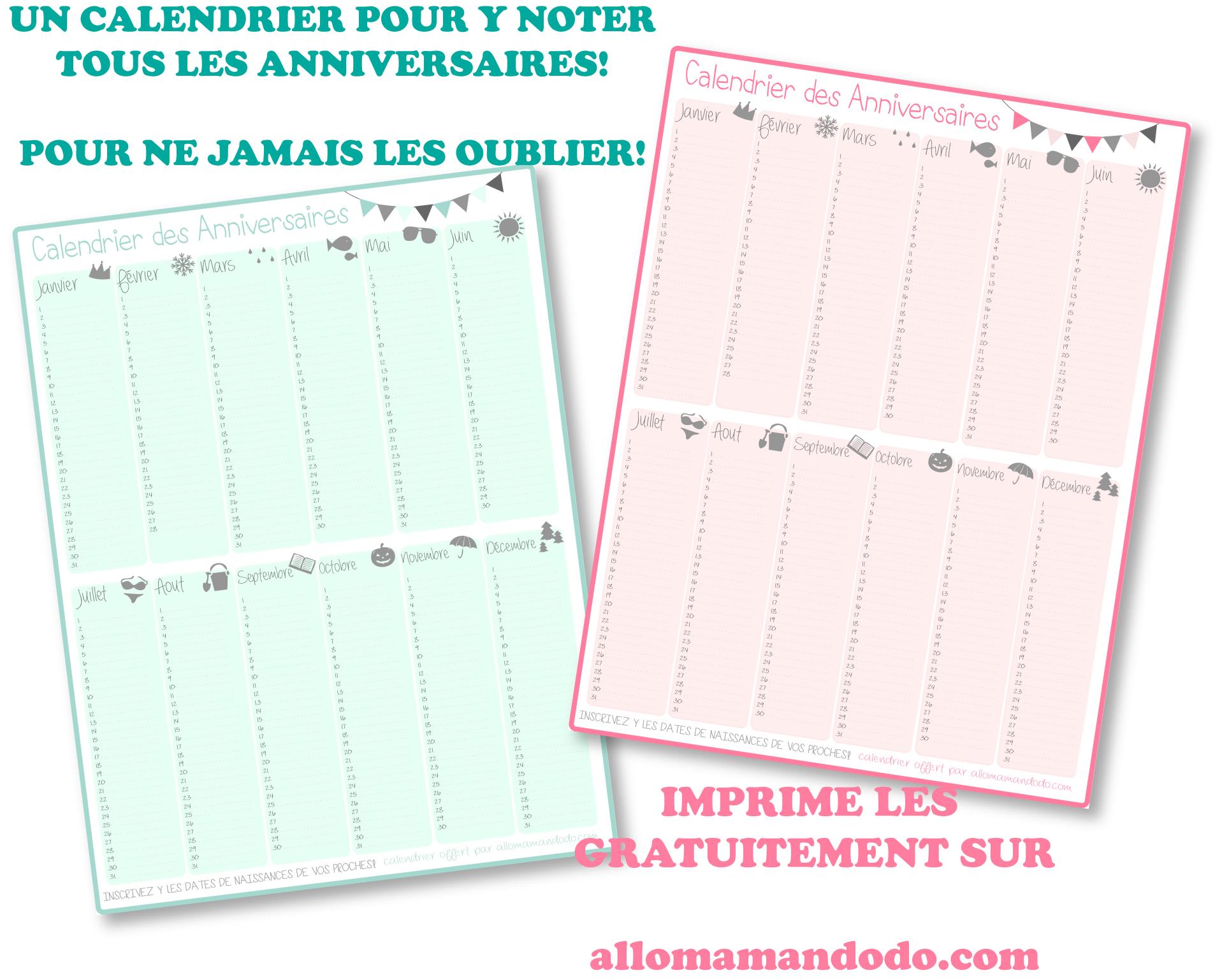 Un calendrier des anniversaires pour ne jamais plus les zapper gratuit printable allo - Calendrier perpetuel a imprimer ...