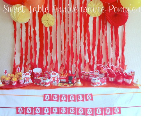 sweet table anniversaire pompier