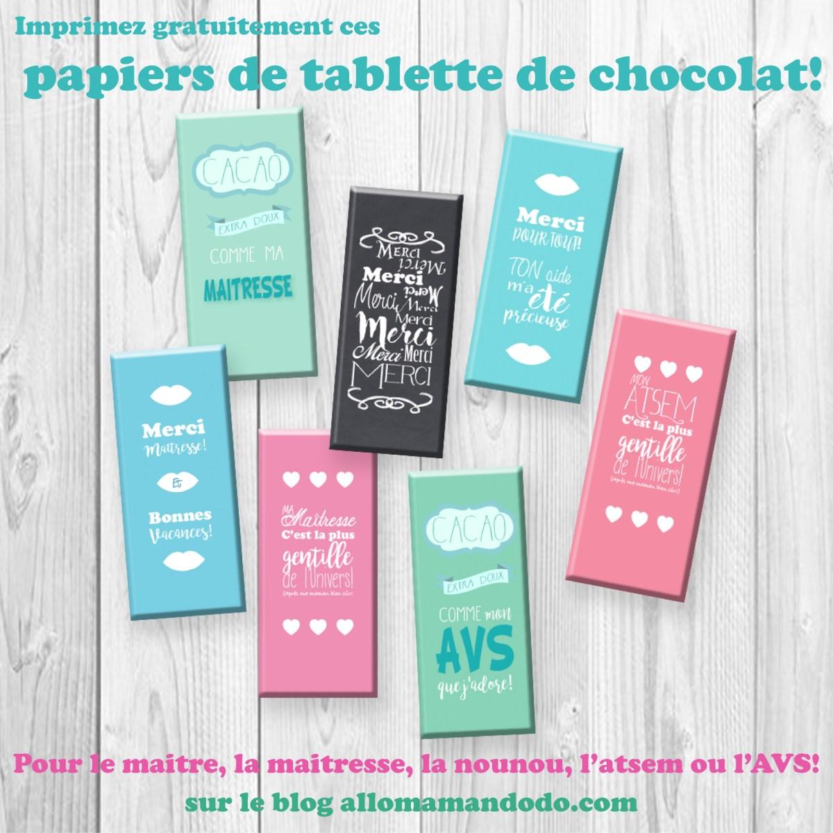 Cadeau des Maitresses / ATSEM / AVS: Des Tablettes de Chocolat (Avec Papier A Imprimer )