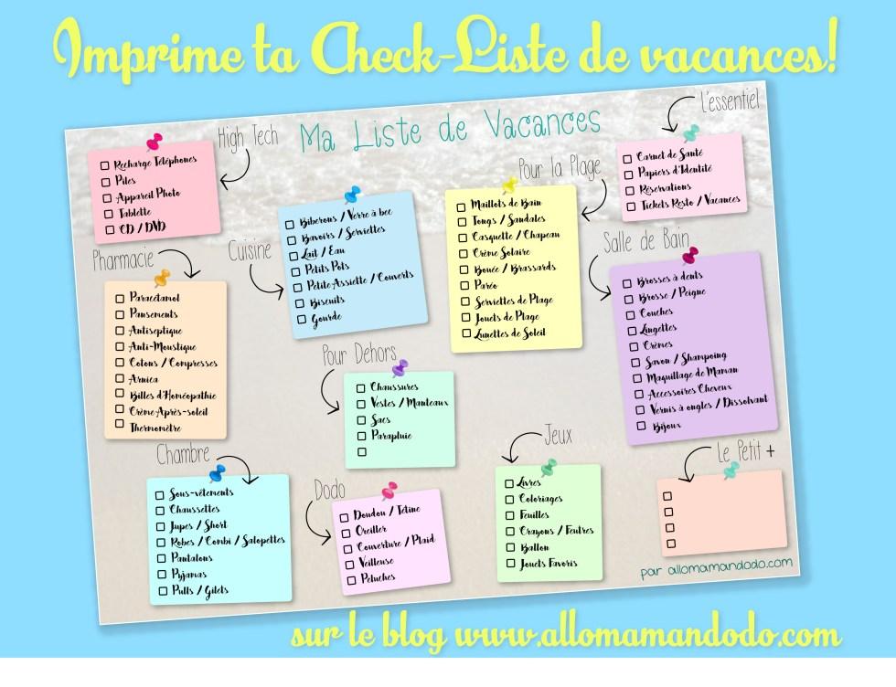 checklist vacances valise