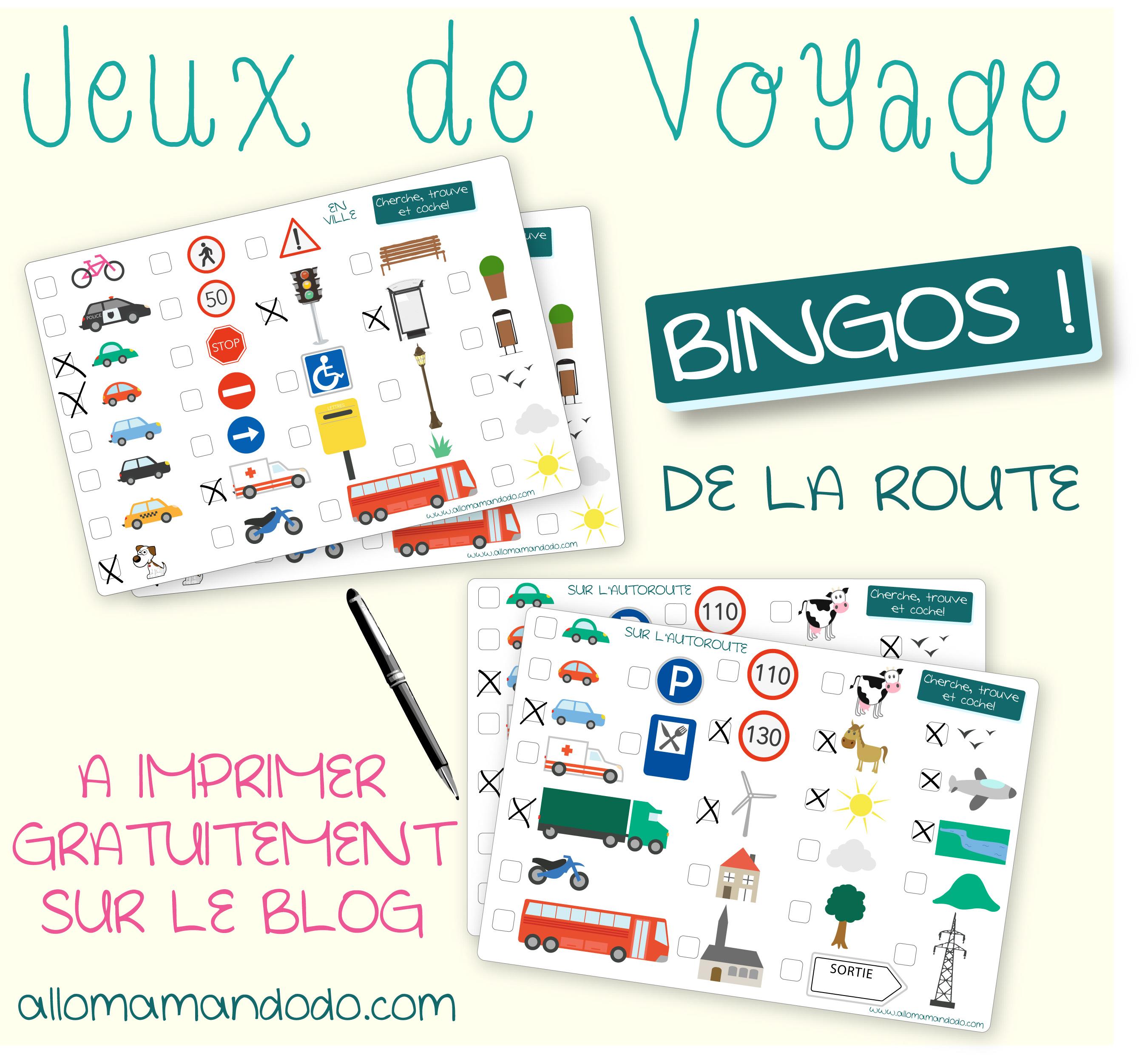 Les Occuper En Voiture Jeux De Voyage Bingo De La Route A Imprimer Allo Maman Dodo