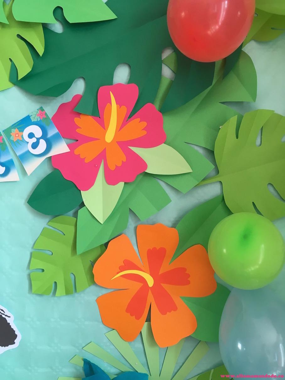 deco fleurs anniversaire vaiana