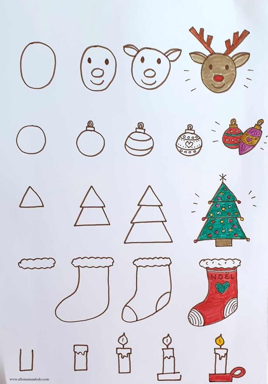 Apprendre A Dessiner Noel Fiches Etapes Dessin A Imprimer