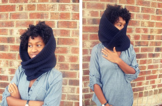 turn a men's sweater into a warming cowl (via)