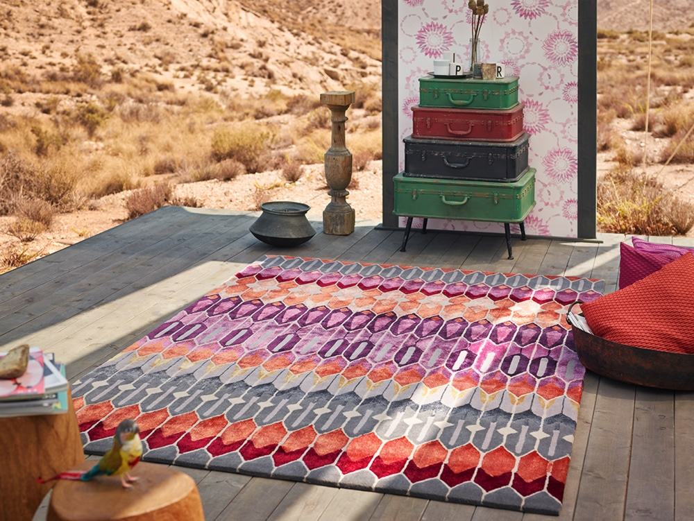 Tapis en laine de Nouvelle-zélande multicolore Sahara Esprit Home
