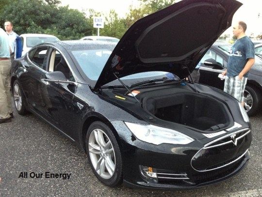 "Tesla EV and what it's owner calls the ""Frunk"" (front trunk)"
