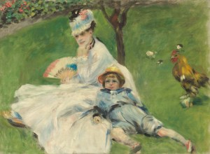 Auguste Renoir, Madame Monet and Her Son, French, 1841 - 1919, 1874, oil on canvas, Ailsa Mellon Bruce Collection