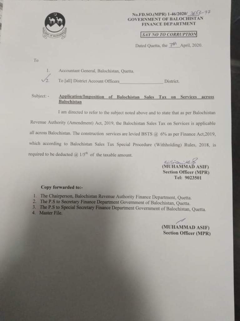 Application / Imposition of Balochistan Sales Tax on Services Across Balochistan | Government of Balochistan Finance Department | April 07, 2020 - allpaknotifications.com