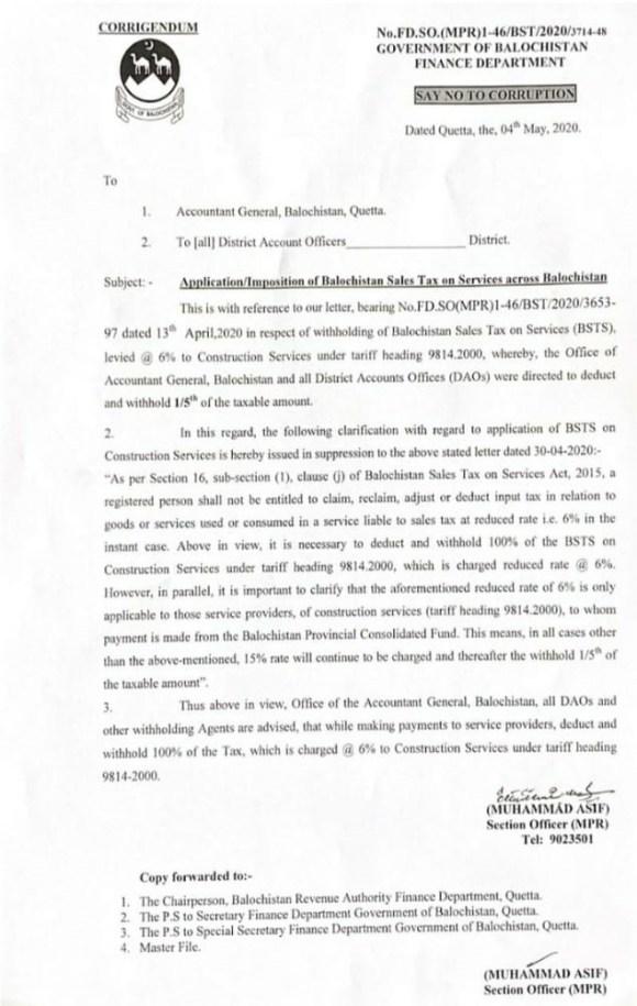 Corrigendum   Application/Imposition of Balochistan Sales Tax on Services across Balochistan   Government of Balochistan Finance Department   May 04, 2020 - allpaknotifications.com