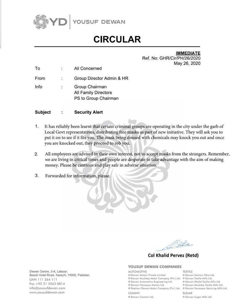 Circular | Security Alert Regarding Wearing of Masks | May 26, 2020 - allpaknotifications.com