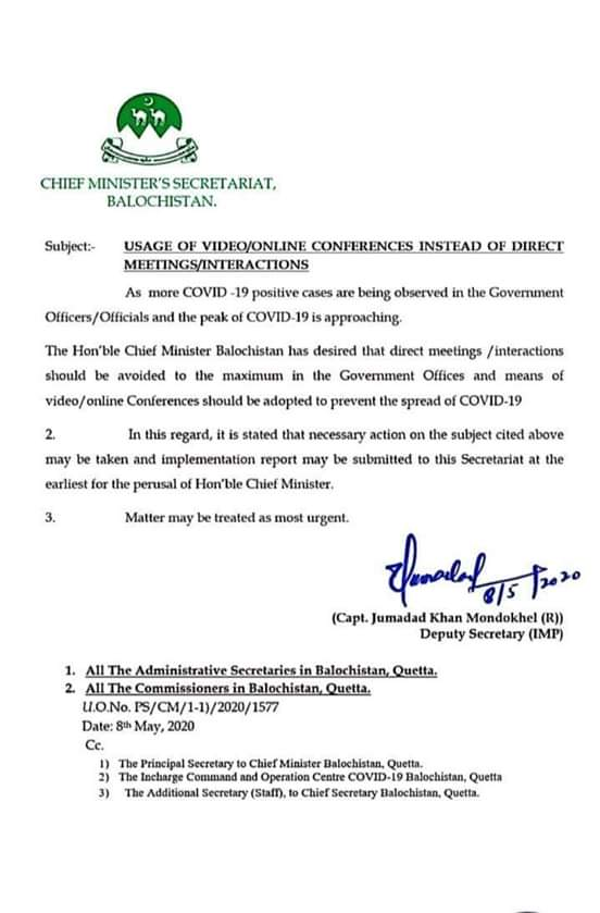 Usage of Video/Online Conferences Instead of Direct Meetings/Interactions | Chief Minister's Secretariat, Balochistan | May 08, 2020 - allpaknotifications.com