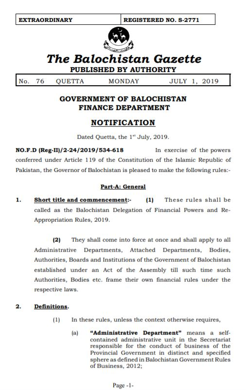 Notification | The Balochistan Delegation of Financial Powers and Re-Appropriation Rules 2019 | Government of Balochistan Finance Department | July 01, 2019 - allpaknotifications.com
