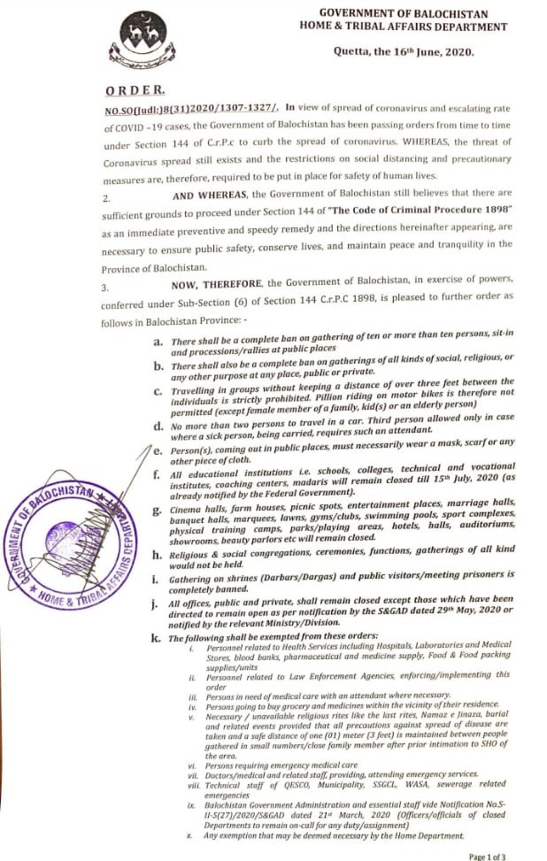 "Order | Implementation of Section 144 ""The Code of Criminal Procedure 1898"" to Curb the Spread of Coronavirus 