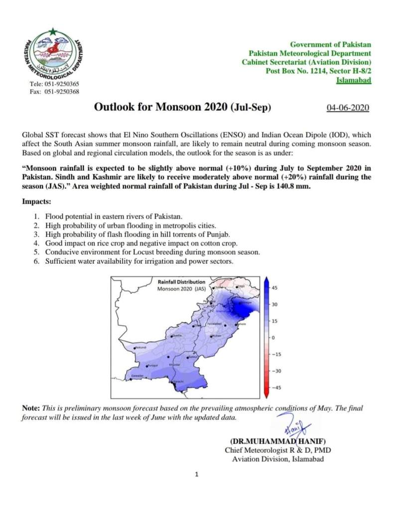 Outlook for Monsoon 2020 (July-September) | Government of Pakistan Pakistan Meteorological Department Cabinet Secretariat (Aviation Division) | May 04, 2020 - allpaknotifications.com