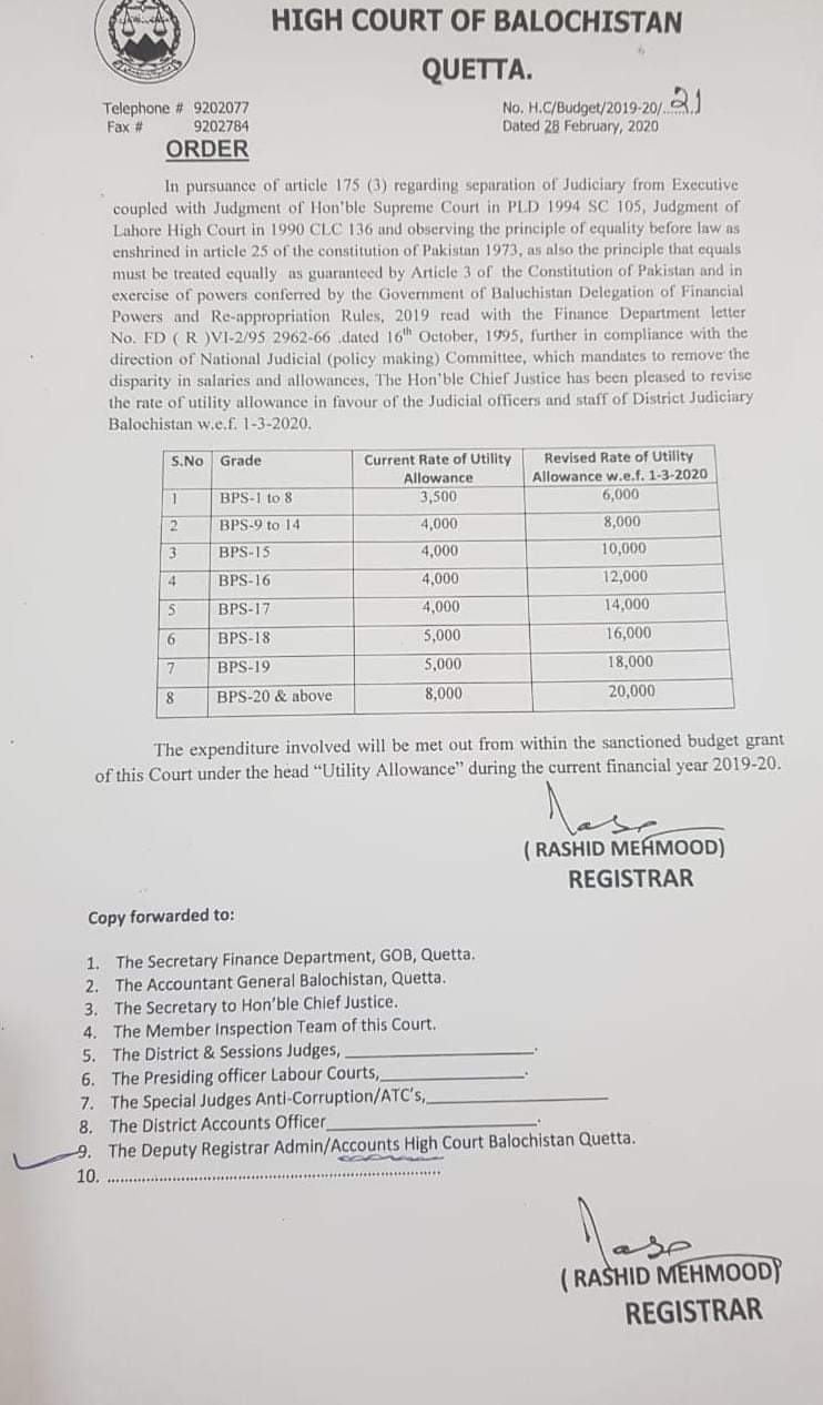 Revision of the Rate of Utility Allowances in Favor of Judicial Officers and Staff of District Judiciary Balochistan w.e.f. 01-03-2020 | High Court of Balochistan Quetta | February 28, 2020 - allpaknotifications.com
