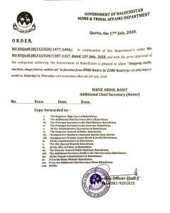 Order | Allowing of Shopping Malls, Markets, Shops, Stores, Outlets to Function for Six (06) Days a Week | Government of Balochistan Home & Tribal Affairs Department | July 17, 2020 - techurdu.net