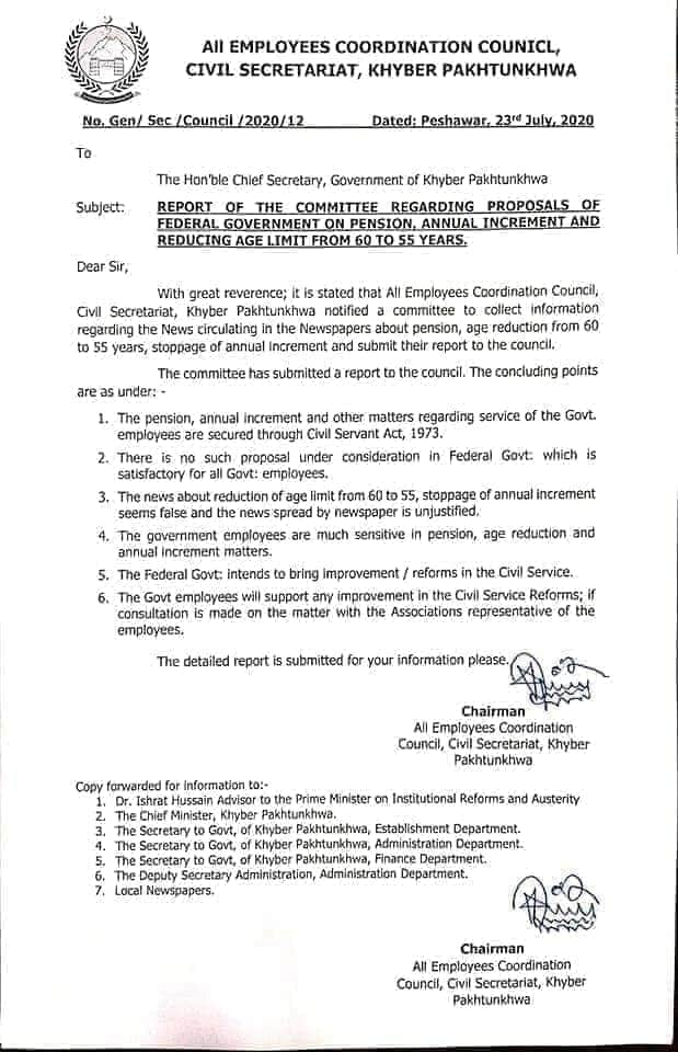 Report of the Committee Regarding Proposals of Federal Government on Pension, Annual Increment and Reducing Age Limit from 60 to 55 Years   All Employees Coordination Council, Civil Secretariat, Khyber Pakhtunkhwa   July 23, 2020 - allpaknotifications.com