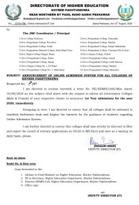 Announcement of Online Admission System for All Colleges of Khyber Pakhtunkhwa | Directorate of Higher Education Khyber Pakhtunkhwa | August 10, 2020 - allpaknotifications.com