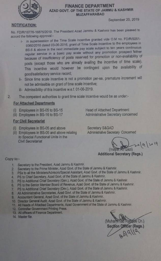 Notification | Grant of Time Scale Incentives to the Employees in BS-5 & Above to the Next Immediate PayScale subject to ten years continuous Regular Service in a Basic Pay Scale without Promotion Prospect | Finance Department Azad Govt. of the State of Jammu & Kashmir Muzaffarabad | September 20, 2019 - allpaknotifications.com