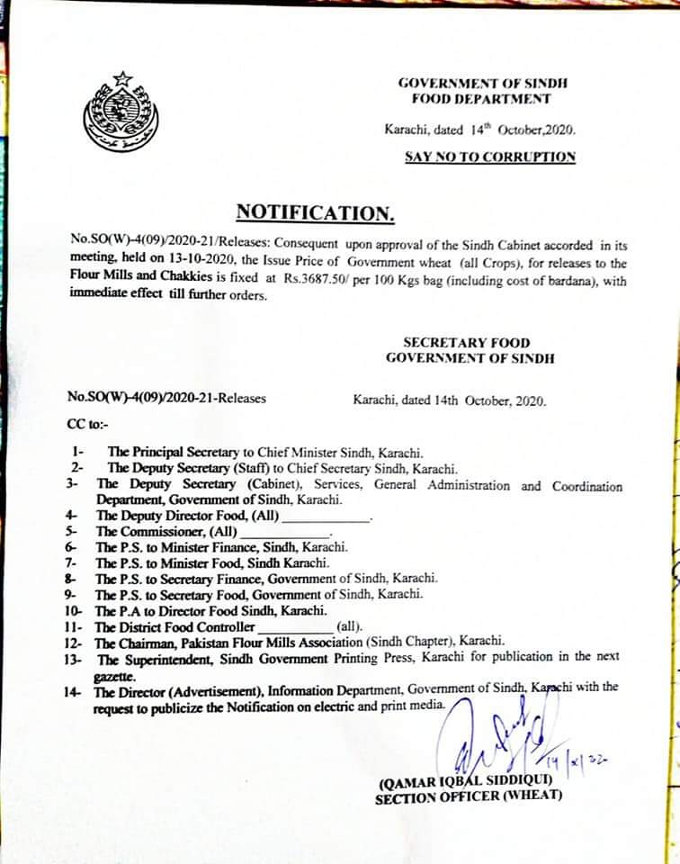 Notification | Fixing of the Prices of Government Wheat per 100 Kg (including the cost of Bardana) | Government of Sindh Food Department | October 14, 2020 - allpaknotifications.com