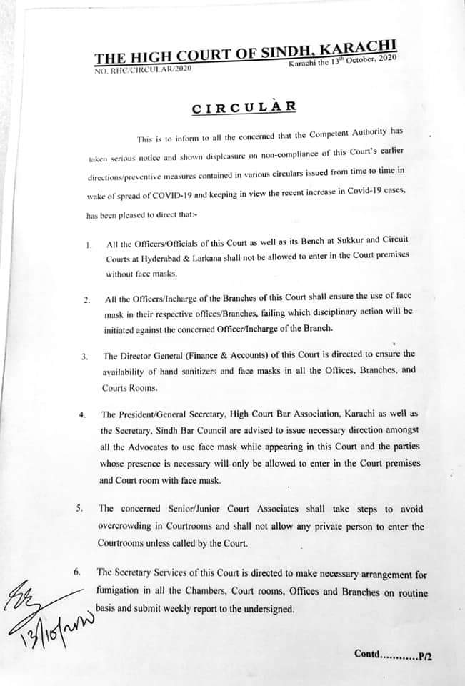 Circular | Directions of the High Court of Sindh regarding COVID-19 Preventions | October 13, 2020 - allpaknotifications.com