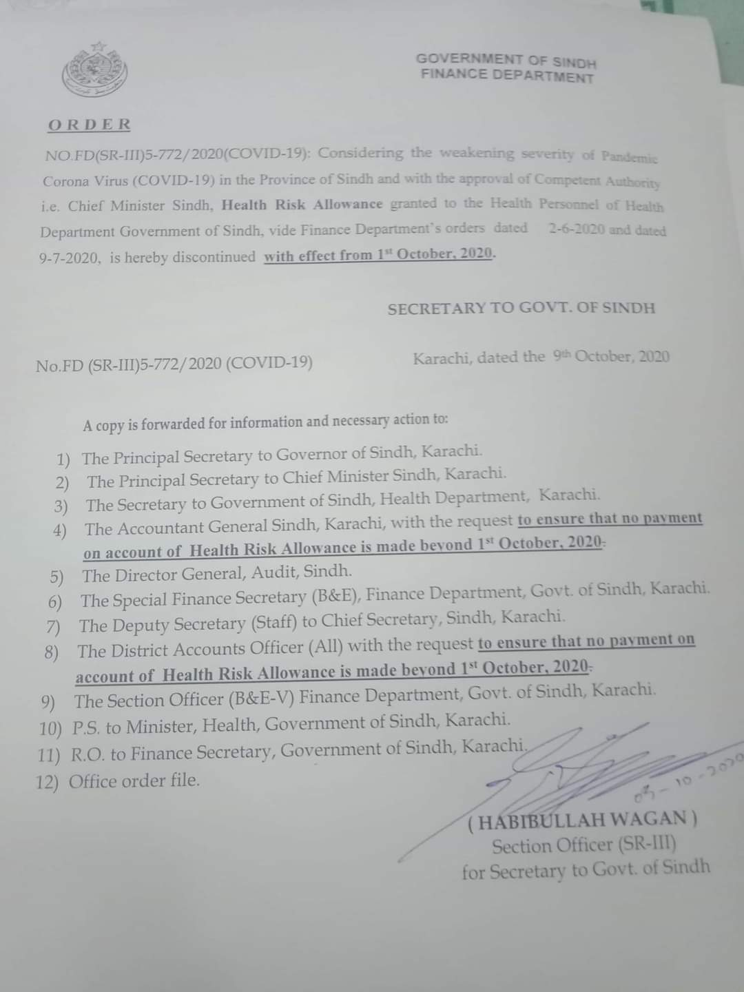 Order | Discontinuation of Health Risk Allowance granted to the Health Personnel of Health Department | Government of Sindh Finance Department | October 09, 2020 - allpaknotifications.com